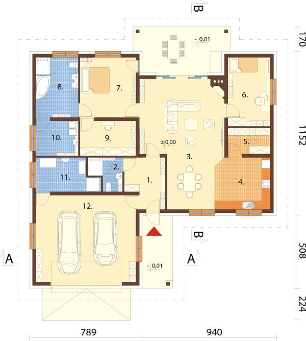 Projekt domu L-6641 - rzut