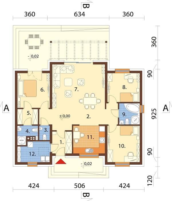 Projekt domu DM-6651 - rzut