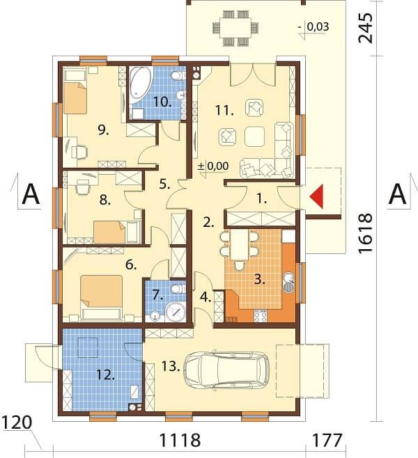 Projekt domu DM-6661 - rzut