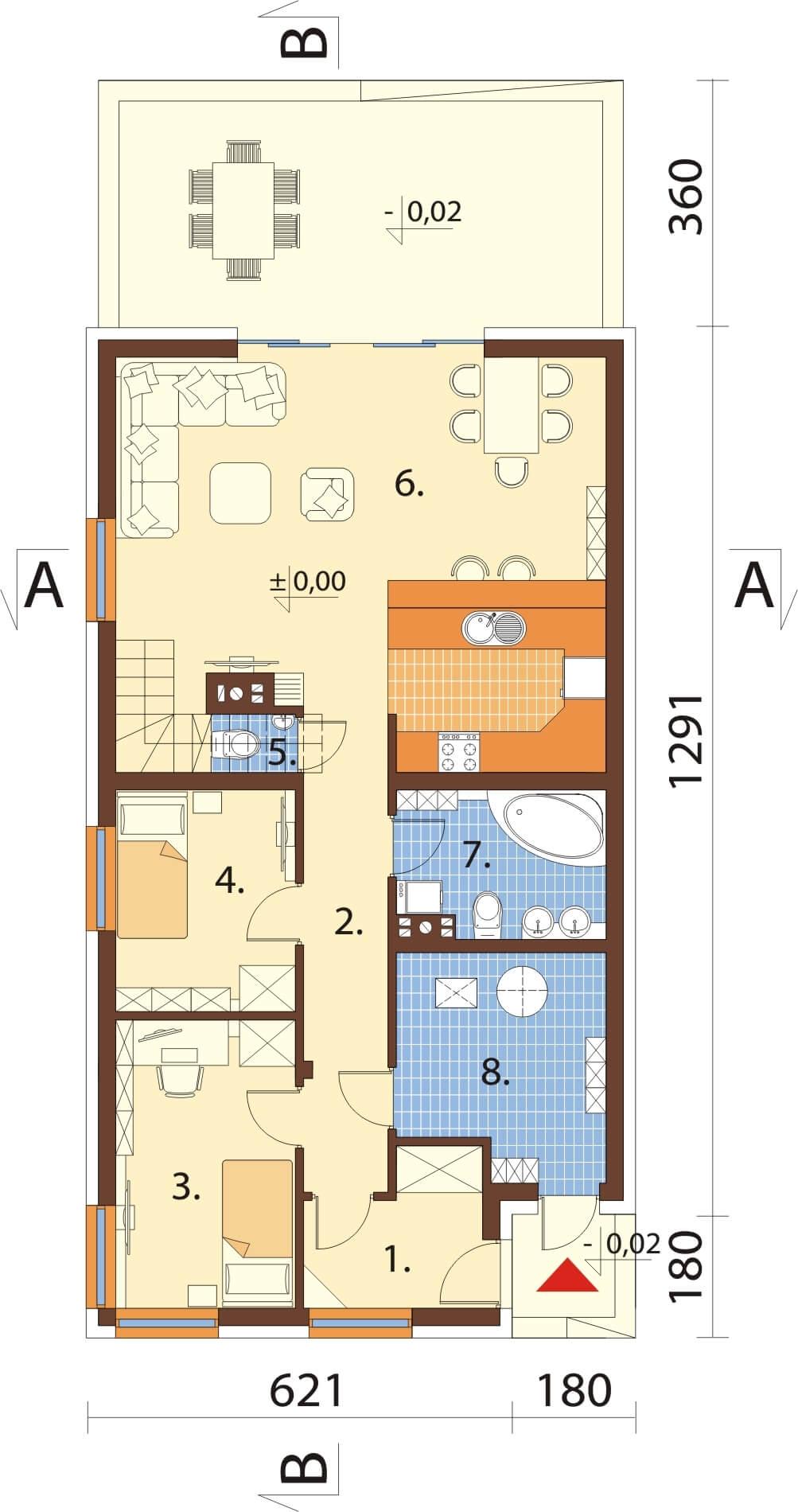 Projekt domu DM-6662 - rzut