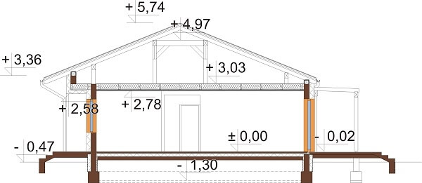 Projekt domu L-6651 - przekrój