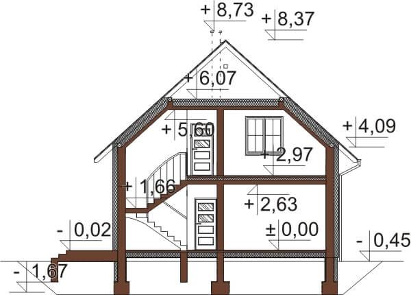Projekt domu L-6653 - przekrój