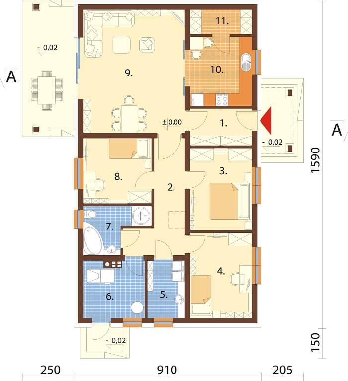 Projekt domu DM-6657 - rzut
