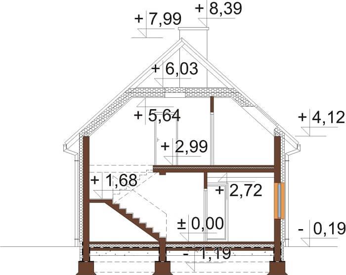 Projekt domu DM-6656 - przekrój