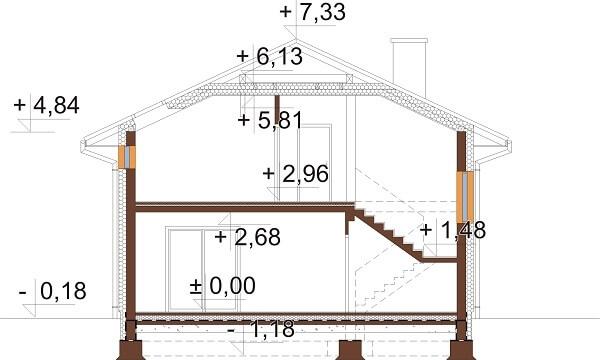 Projekt domu L-6647 - przekrój