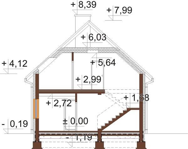 Projekt domu L-6656 - przekrój