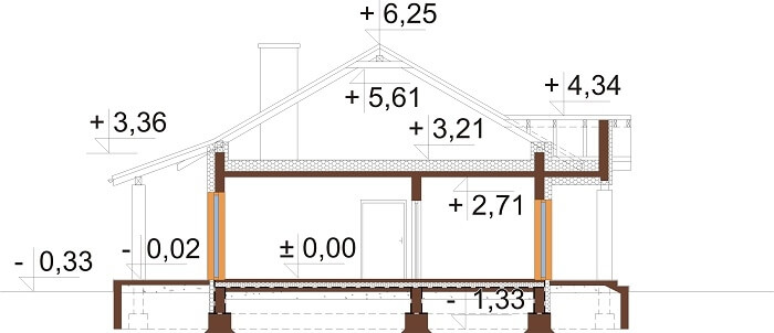 Projekt domu L-6657 - przekrój