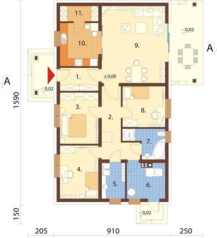 Projekt domu L-6657 - rzut