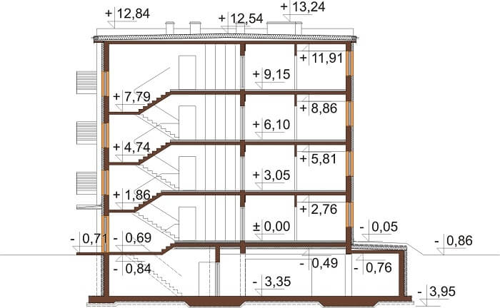 Projekt domu DM-6496 B (DP) - przekrój