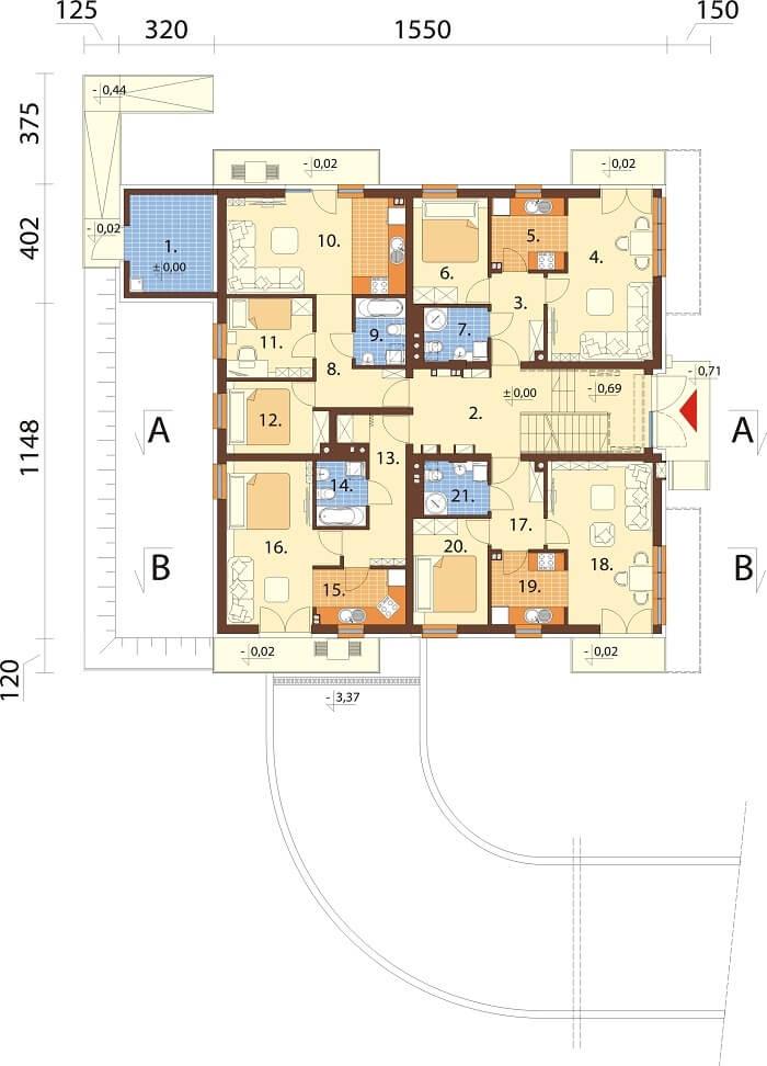 Projekt domu DM-6496 B (DP) - rzut