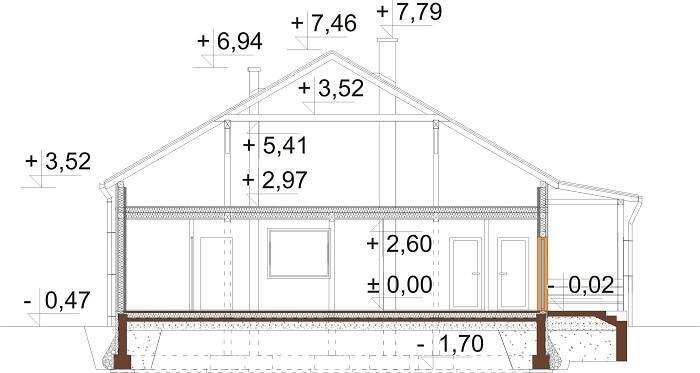 Projekt domu L-6617 - przekrój