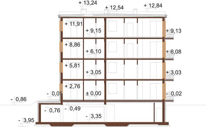 Projekt domu L-6496 B (DP) - przekrój