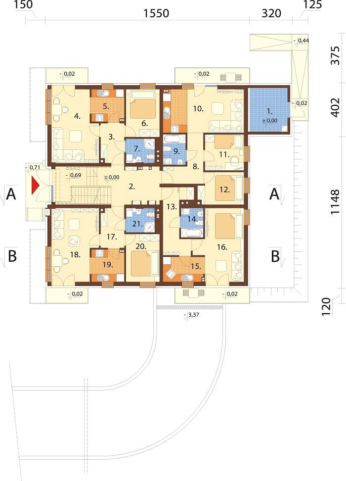 Projekt domu L-6496 B (DP) - rzut