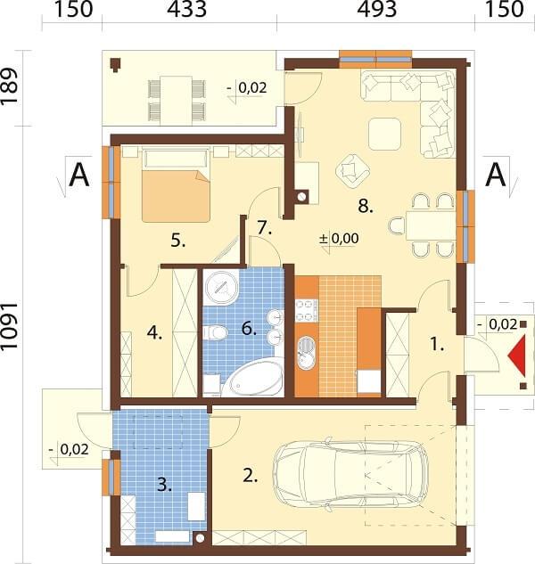 Projekt domu DM-6676 - rzut