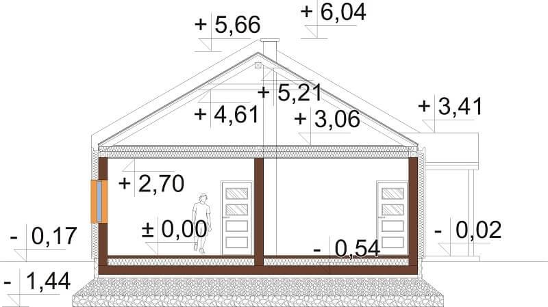Projekt domu L-6676 - przekrój
