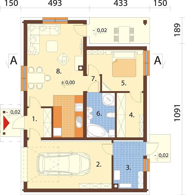 Projekt domu L-6676 - rzut