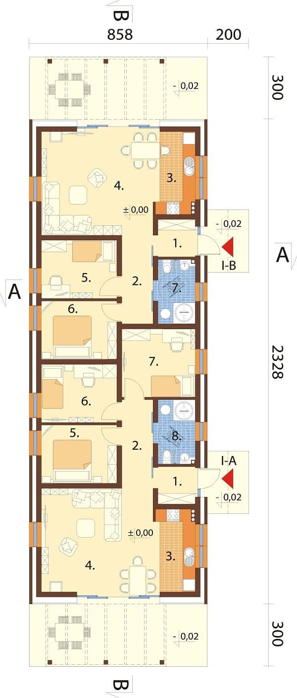 Projekt domu DM-6650 - rzut
