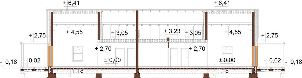 Projekt domu L-6650 - przekrój