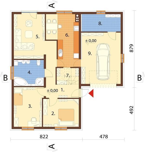 Projekt domu DM-6644 - rzut