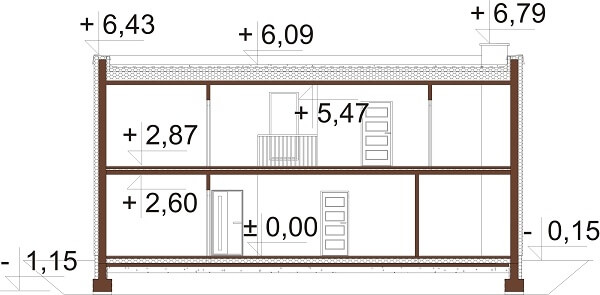 Projekt domu L-6644 - przekrój