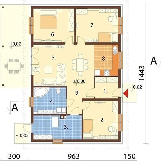 Projekt domu DM-6660 - rzut