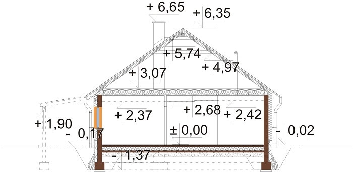 Projekt domu L-6660 - przekrój