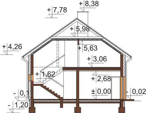Projekt domu L-6648 - przekrój