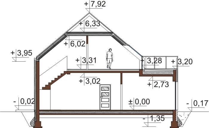 Projekt domu L-6659 - przekrój