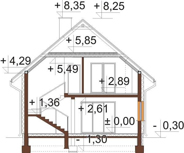 Projekt domu L-6663 - przekrój