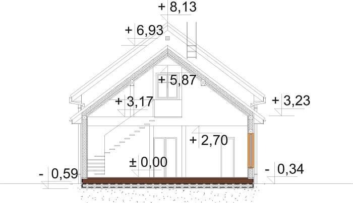 Projekt domu DM-6658 - przekrój