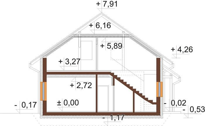 Projekt domu DM-6671 - przekrój