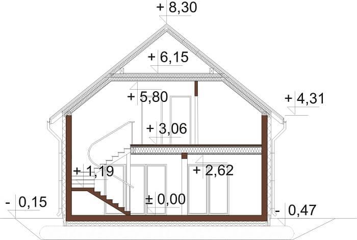 Projekt domu DM-6674 - przekrój