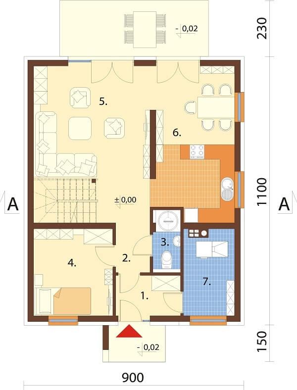 Projekt domu DM-6674 - rzut