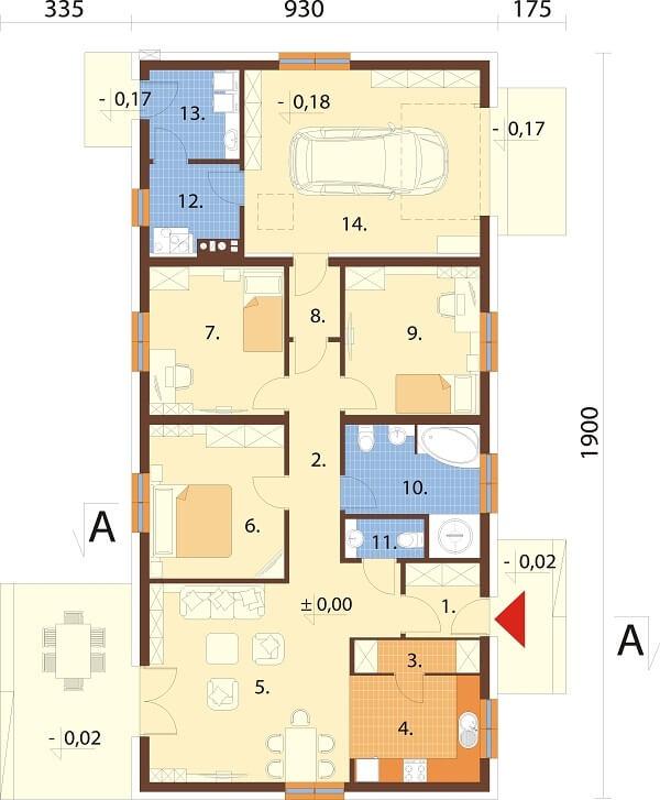 Projekt domu DM-6678 - rzut
