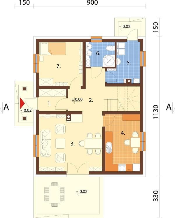 Projekt domu L-6677 - rzut