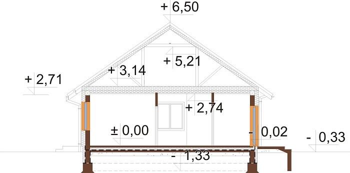 Projekt domu L-6678 - przekrój