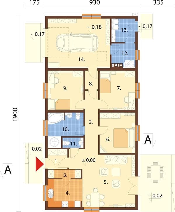 Projekt domu L-6678 - rzut