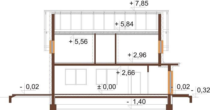 Projekt domu DM-6675 - przekrój