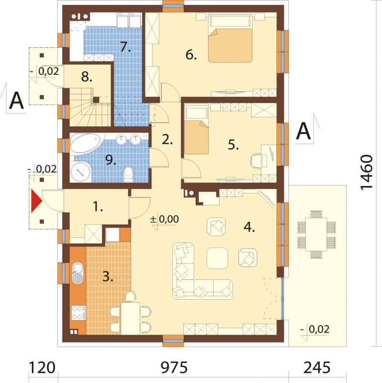 Projekt domu L-6671 - rzut
