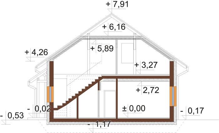 Projekt domu L-6671 - przekrój