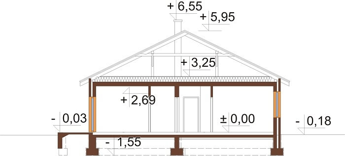 Projekt domu L-6661 - przekrój