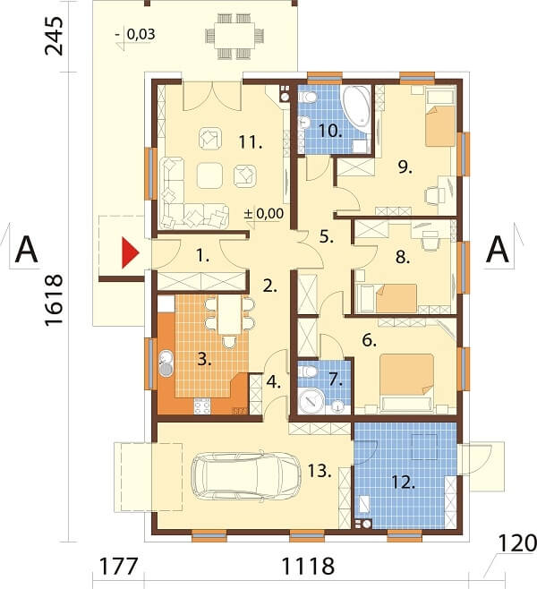 Projekt domu L-6661 - rzut