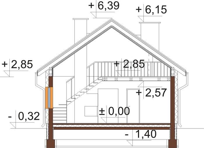 Projekt domu L-6662 - przekrój
