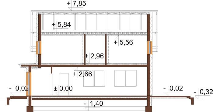 Projekt domu L-6675 - przekrój