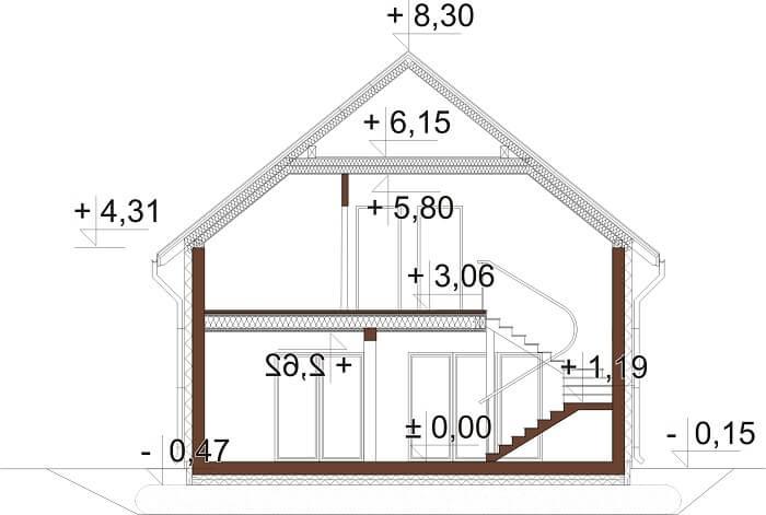 Projekt domu L-6674 - przekrój