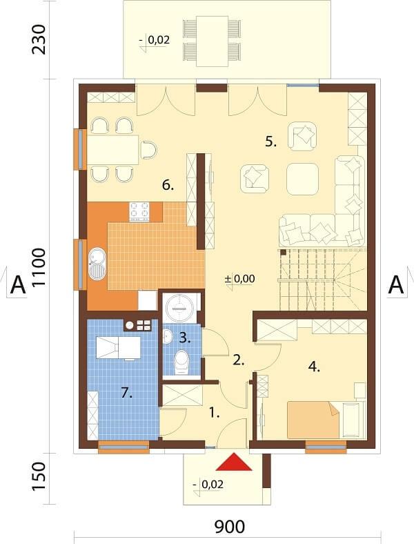Projekt domu L-6674 - rzut