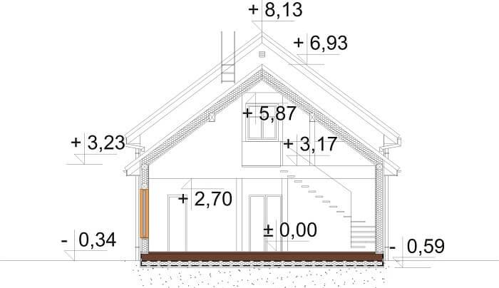 Projekt domu L-6658 - przekrój