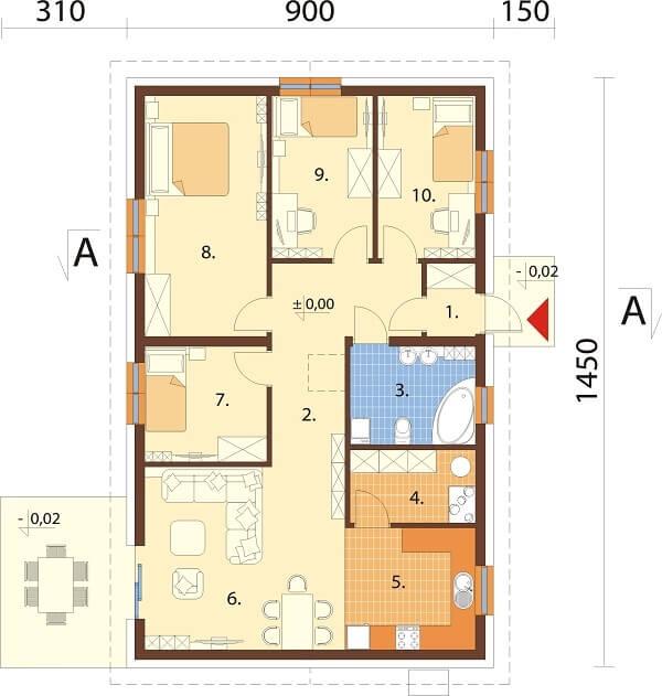 Projekt domu DM-6691 - rzut