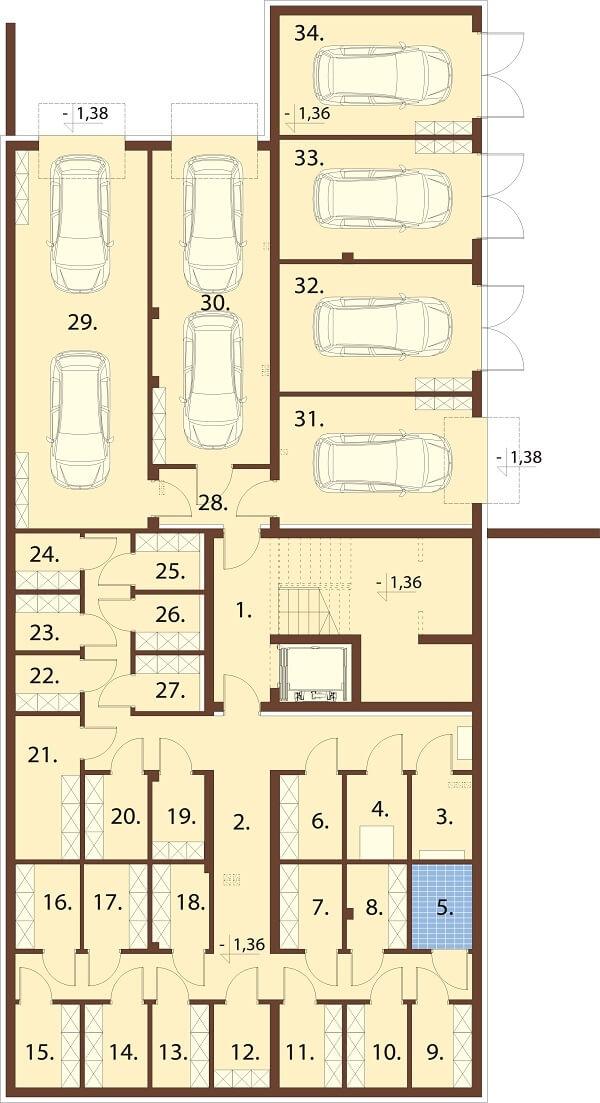 Projekt domu DM-6670 - rzut