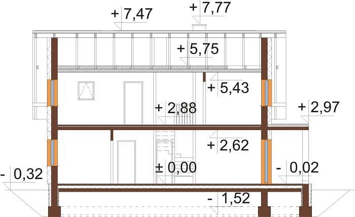 Projekt domu DM-6664 - przekrój